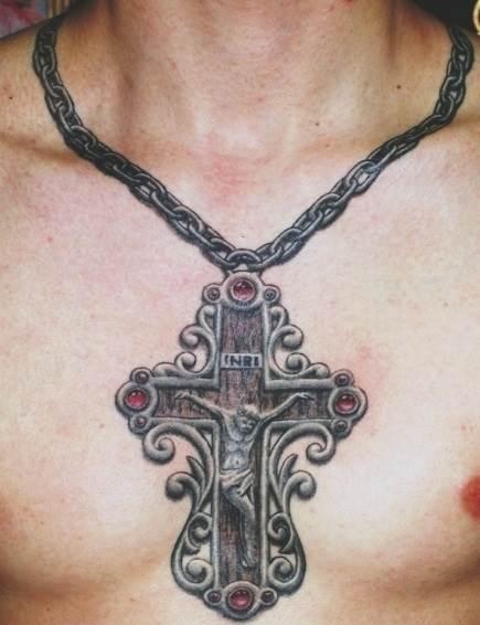 Тату крестик на цепочке мужчинам