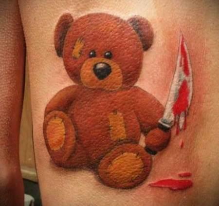 Фото тату медведя девушке