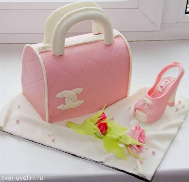 Торт из мастики женская сумка Торты Выпечка